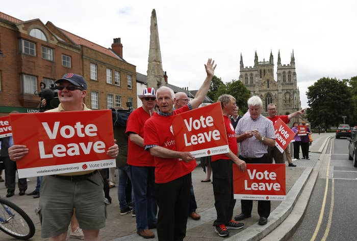 Vote Leave supporters ahead of the EU referendum in June 2016