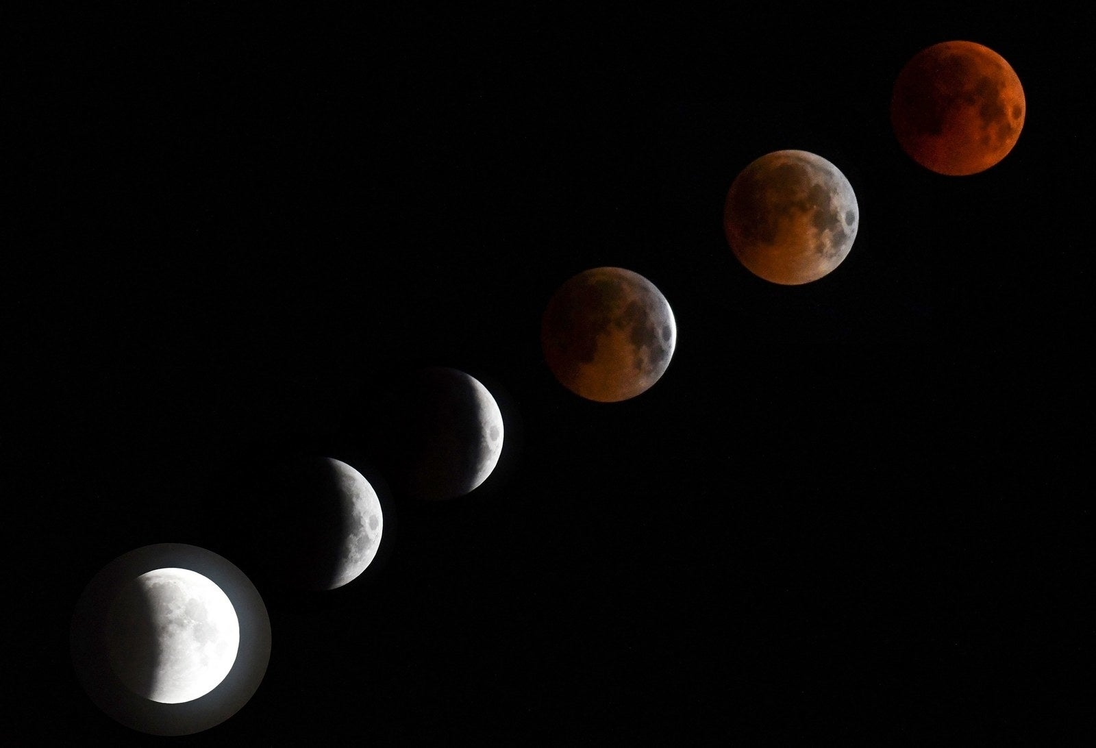 A combo of six pictures shows a the eclipse in various states in Bishkek, Kyrgyzstan.
