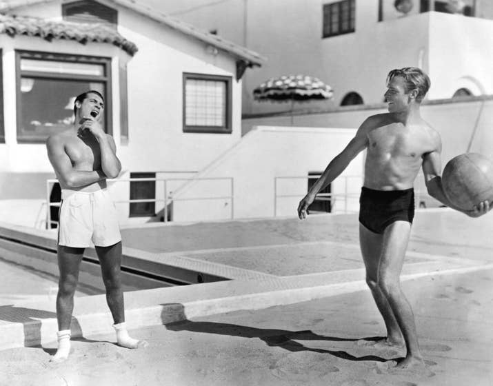 Cary Grant and Randolph Scott at their home on the Santa Monica seafront.