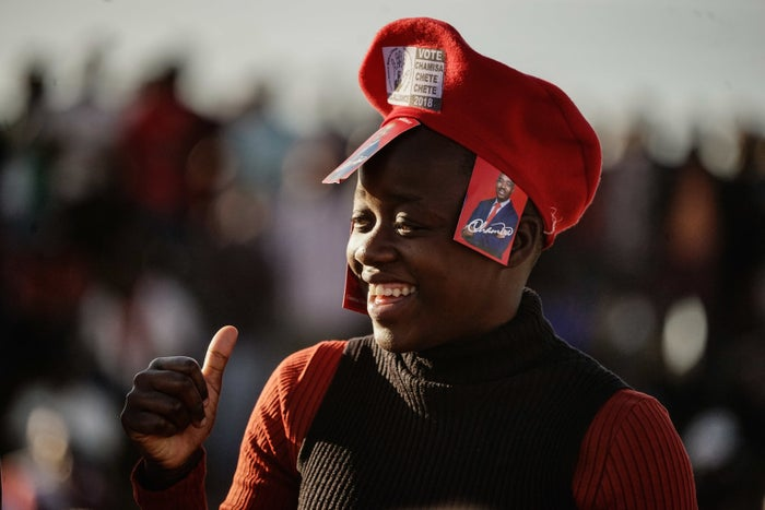 A supporter of opposition leader Nelson Chamisa in Bindura, Zimbabwe, on July 27.