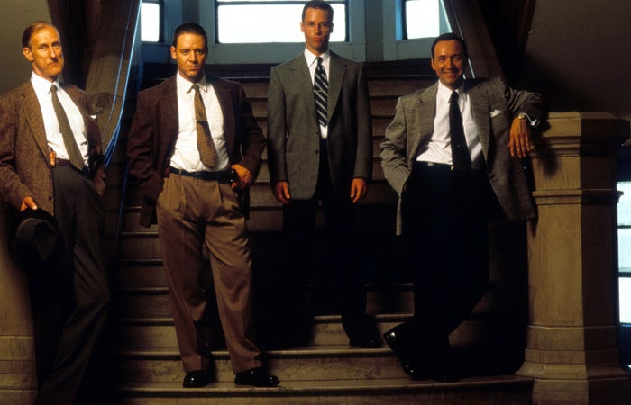"""James Cromwell, Russell Crowe, Guy Pearce, and Kevin Spacey in a publicity portrait for the film """"LA Confidential,"""" 1997."""