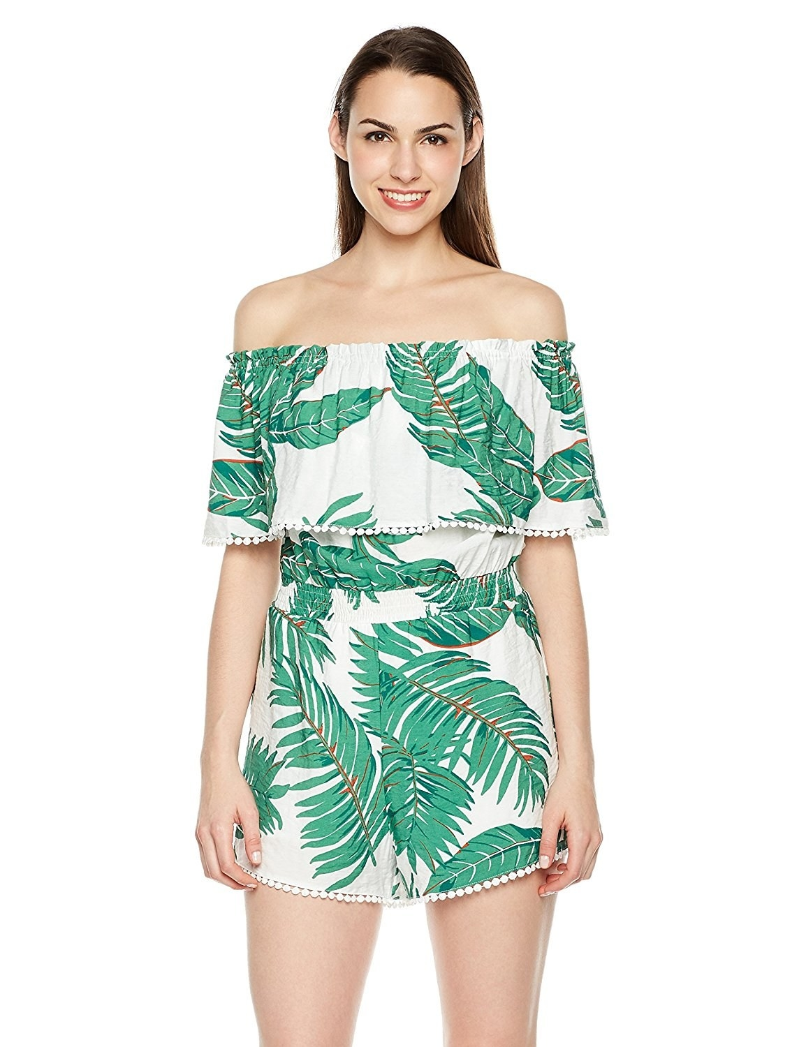1e23716b01 An off-the-shoulder romper featuring   pom pom   detailing that ll make you  want to...cheer.
