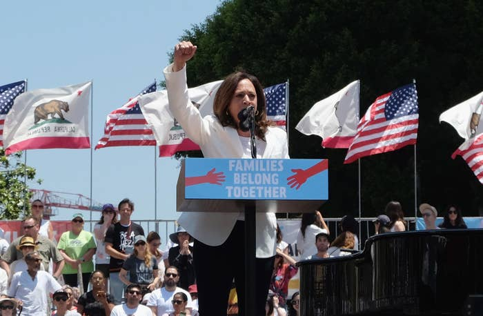 Kamala Harris speaks at a march at Los Angeles City Hall on June 30.