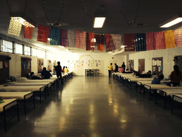 A dormitory for children who illegally crossed the US–Mexico border at Lackland Air Force Base in Texas in 2014.