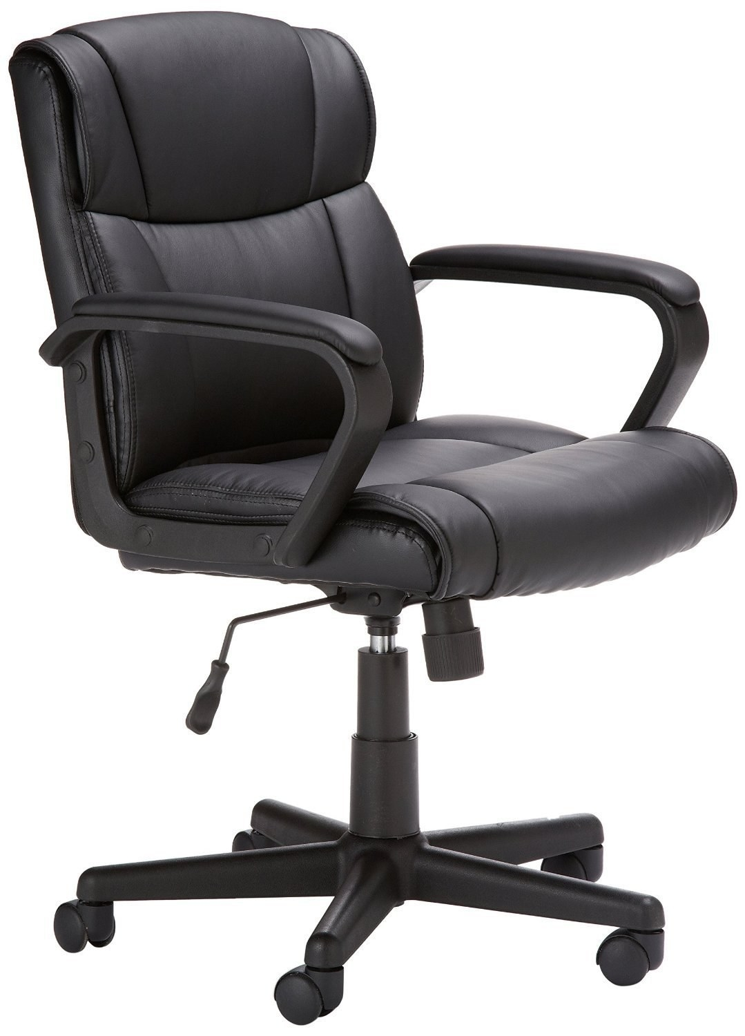 The chair with wheels, padded seat, back, and armrests in black