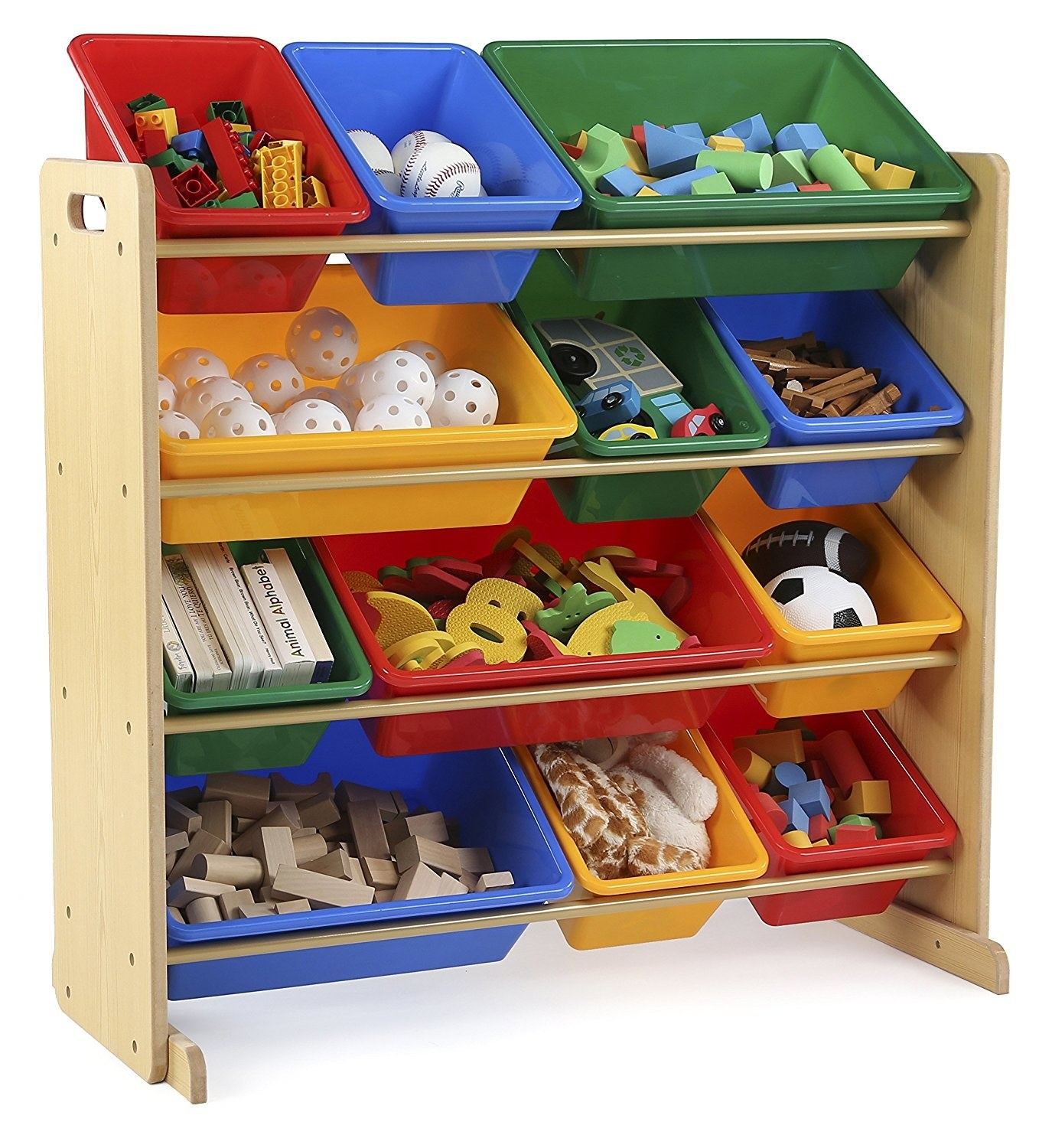 The organizer with four shelves and different sized colored bins on each shelf with toys in them