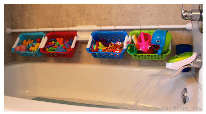 From The Inspired Home, who found their s-hooks and baskets at the dollar store. Get a tension shower curtain rod for $20.45, a pack of 30 s-hooks for $10.99, and a set of six colorful plastic baskets for $16.99, all from Amazon.