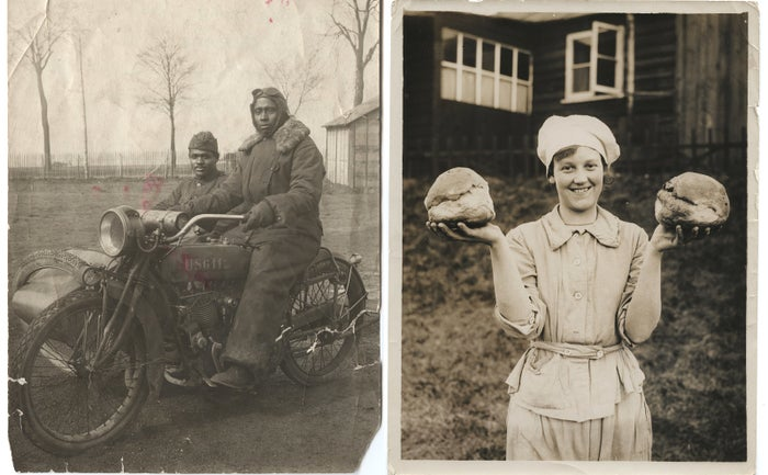 Left: Battalion Mail Corporal Vernon C. Coffey and Virgil McNeal from Kansas City, Missouri, seen here in France, November 1918. Right: One of the bakers of the Women's Army Auxiliary Corps with two of the loaves she made at the British Army bakery at Dieppe, France, on Feb. 10, 1918.