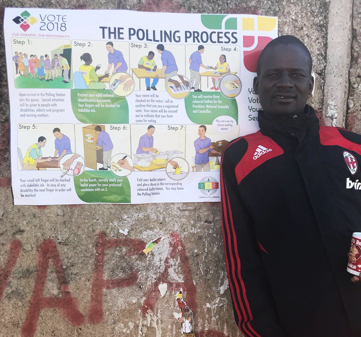 Norman Hungwe outside his polling station.