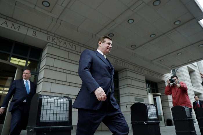 Paul Manafort leaves the federal courthouse in Washington, DC, on April 19, 2018.
