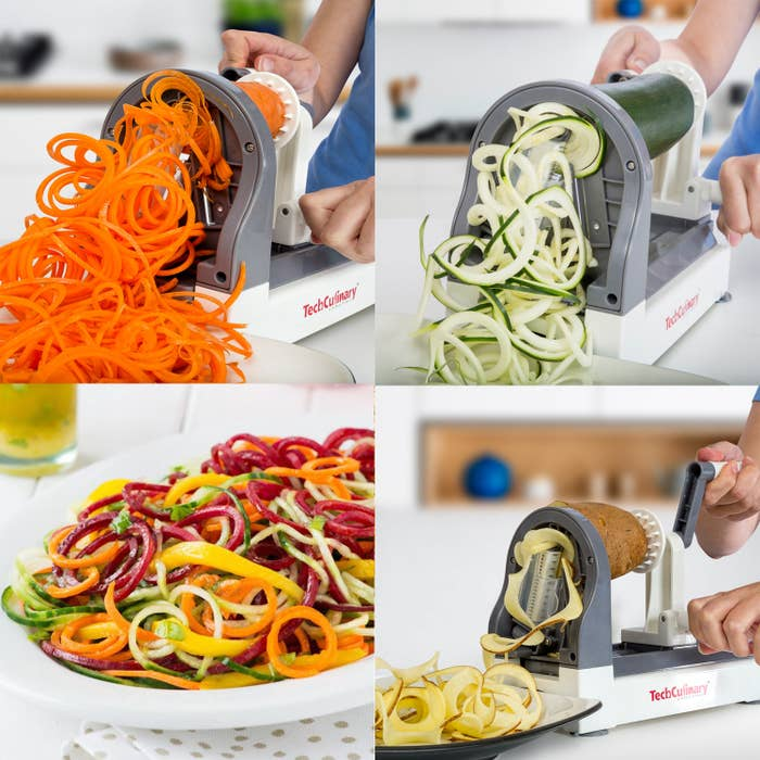 """It has four blade settings, from 2mm (angel hair) to 10mm (curly fries).Promising review: """"What a great inexpensive find this tool is! It's very handy and easy to use. Suction cups on the bottom of the unit make it sturdy during use — beware, blades are extremely sharp!"""" —Asalwaysmary2Get it from Walmart for $19.97."""