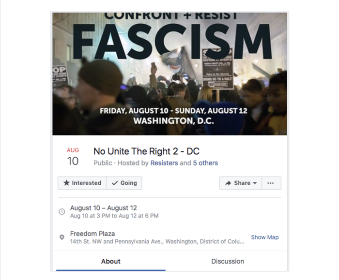 """This event, which was created by the now-removed page """"Resisters,"""" was removed from Facebook on Tuesday."""