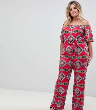 3048c13d689 An off-the-shoulder jumpsuit in a mesmerizing pattern because everyone  needs something in a bold