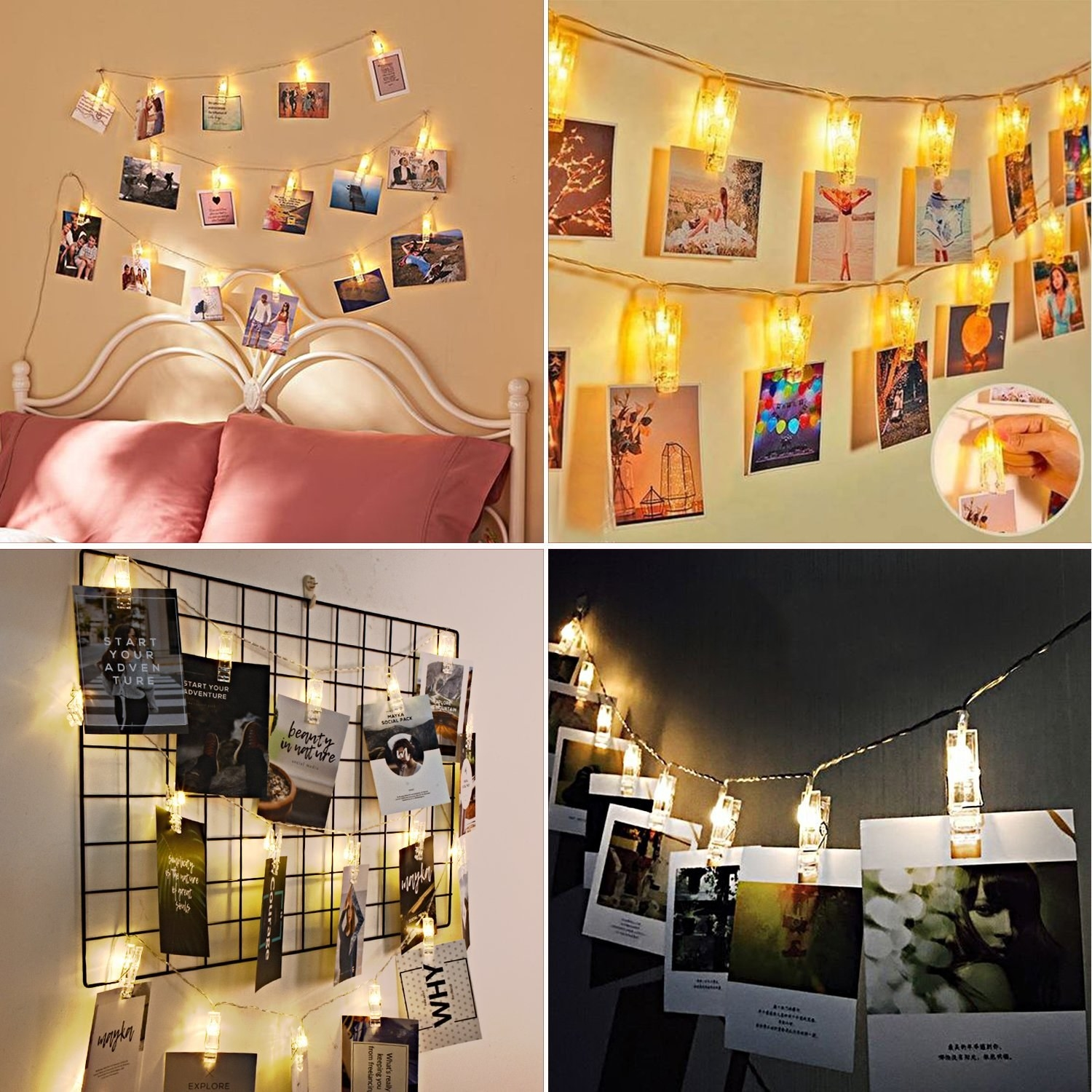 A collage of four images showing pictures hanging from the glowing clips
