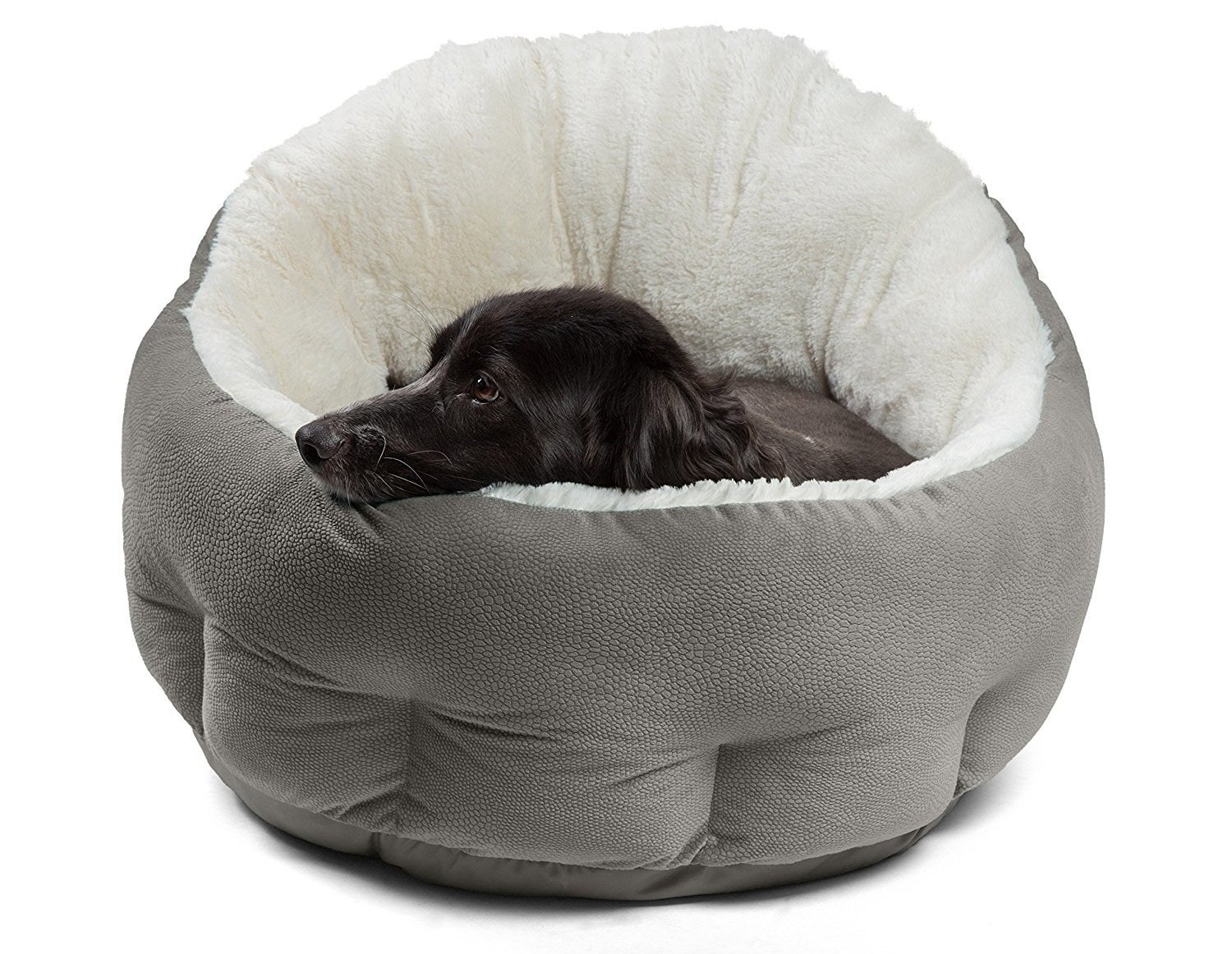 A medium sized dog fully inside the high-wall pet bed