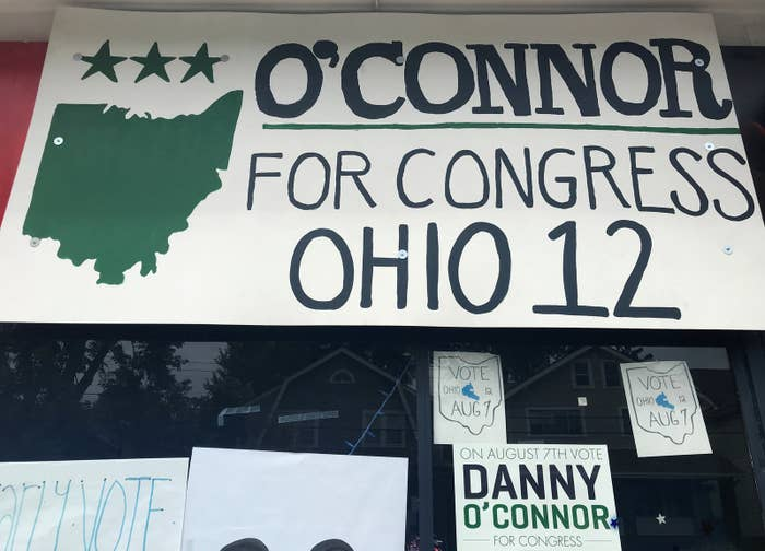 A sign hangs in the window of Democrat Danny O'Connor's campaign office in Ohio's 12th Congressional District.