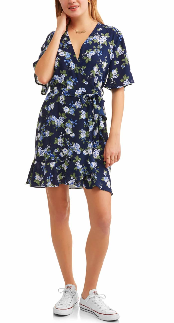 58c549241bb3c2 A floral-print wrap dress with a ruffle-trim hem — you know, they call it a  wrap dress 'cause it's a gift from the fashion gods! Walmart