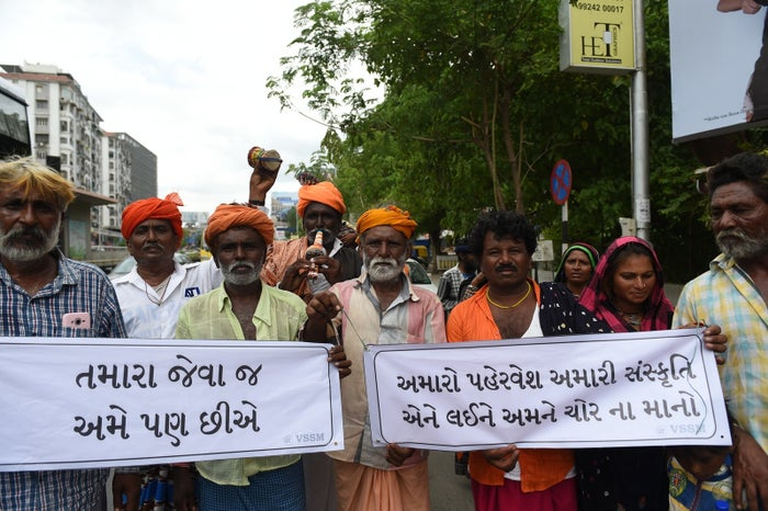 Indian members from the Vaadi community participate in a protest in support of Shantadevi Nath, who was killed by a mob that falsely believed she was intent on abducting children on July 2.