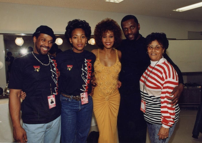 """From left: Michael Houston, Robyn Crawford, Whitney Houston, Gary Houston, and Ellen """"Aunt Bae"""" White, in a photograph from the film Whitney, directed by Kevin Macdonald."""