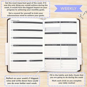 The inner weekly view, with space for the week's main goal, priorities, personal to-do list, weekly reflection, and habit tracker
