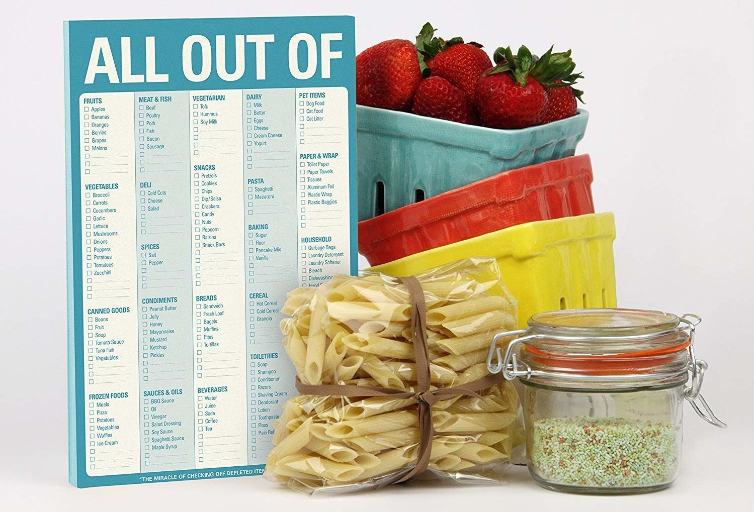 The blue notepad with checkboxes of popular groceries, and blank spots to fill in your own