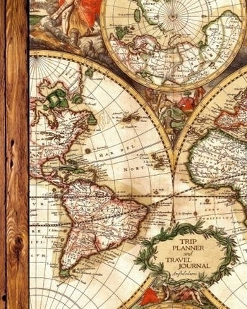 The journal, with vintagey map cover