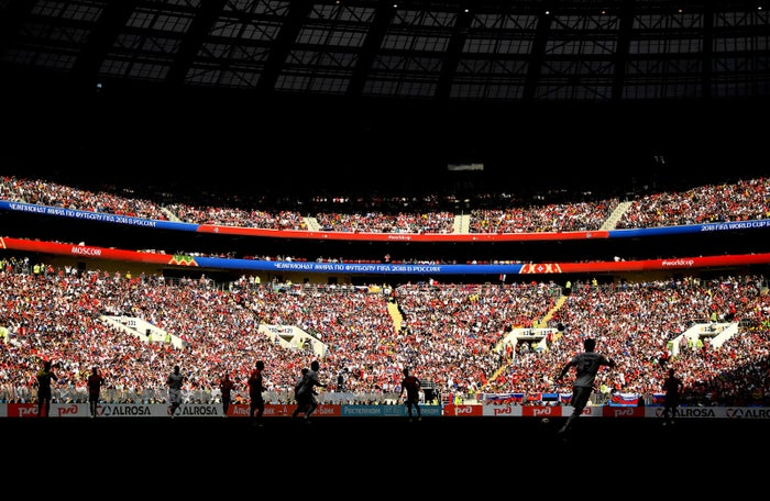 Inside the stadium during the 2018 FIFA World Cup Russia Round of 16 match between Spain and Russia.
