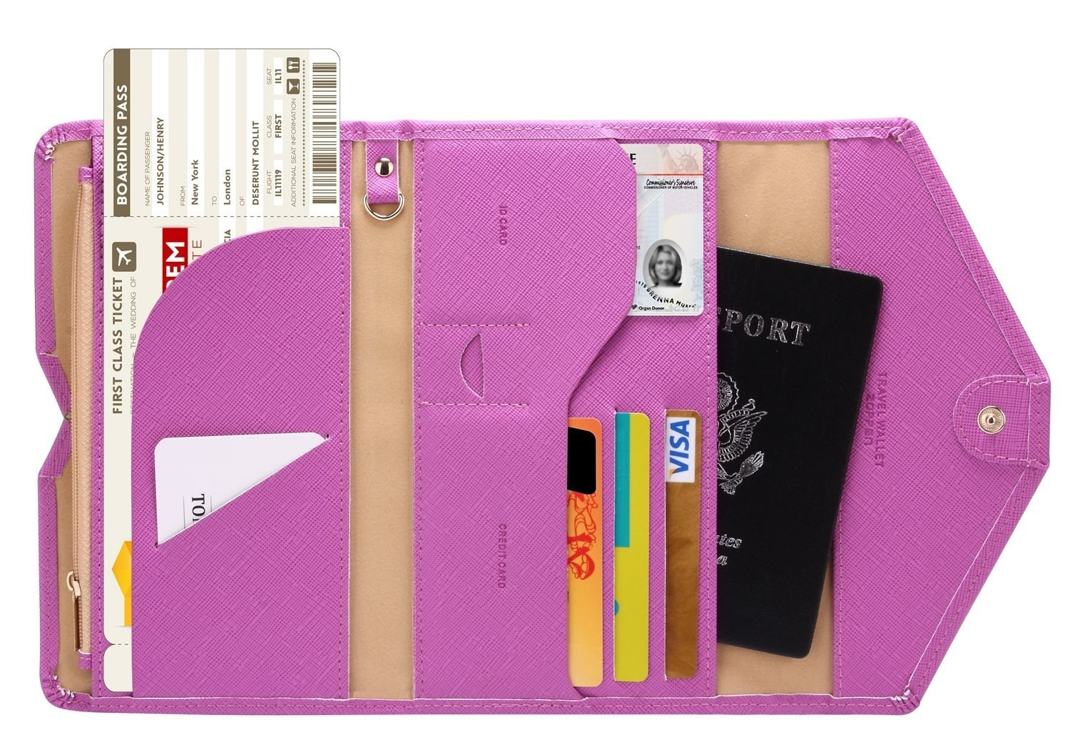 The purple wallet open to show how much it holds