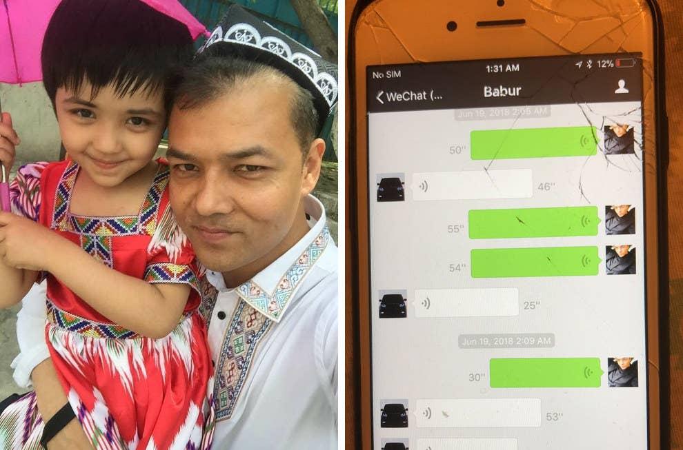 左:タヒル・イミンと愛娘。右:タヒルが、国家安全部の諜報員とWeChatで交わしたメッセージ。