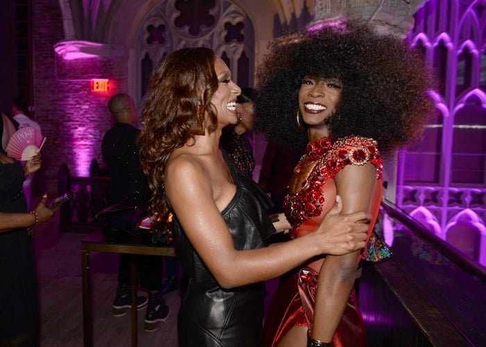 """Janet Mock and Angelica Ross attend the FX """"Pose"""" Ball in Harlem."""