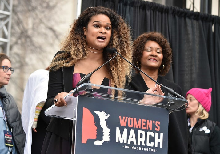 Raquel Willis speaks onstage at the Women's March on Washington.