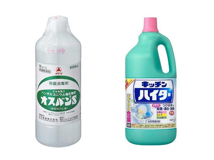 日常的に使うこともできる。「塩化ベンザルコニウム」が含まれる「逆性石けん」は医療機器の消毒や食中毒対策などに用いられ、「次亜塩素酸ナトリウム」が含まれる「家庭用塩素系漂白剤」は、ノロウイルス対策などにも有効だ。