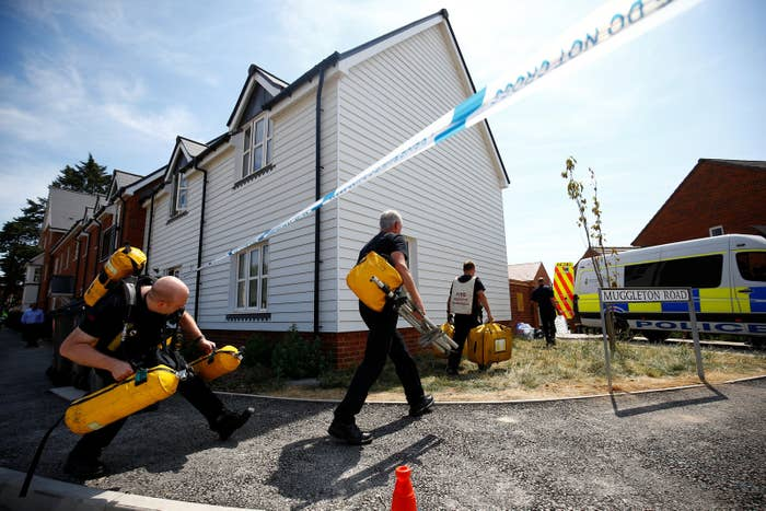 Fire and Rescue Service personnel arrive in Amesbury, Britain, on July 6.