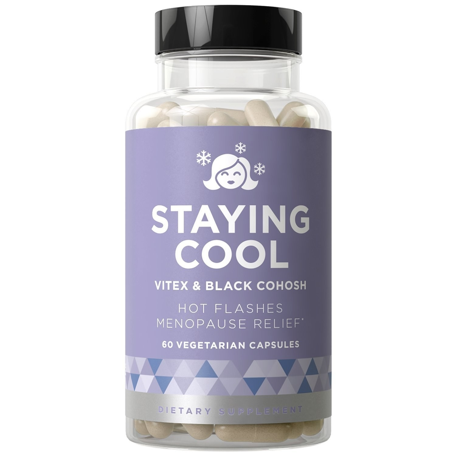 A bottle of Staying Cool Hot Flashes & Menopause Natural Relief supplements.