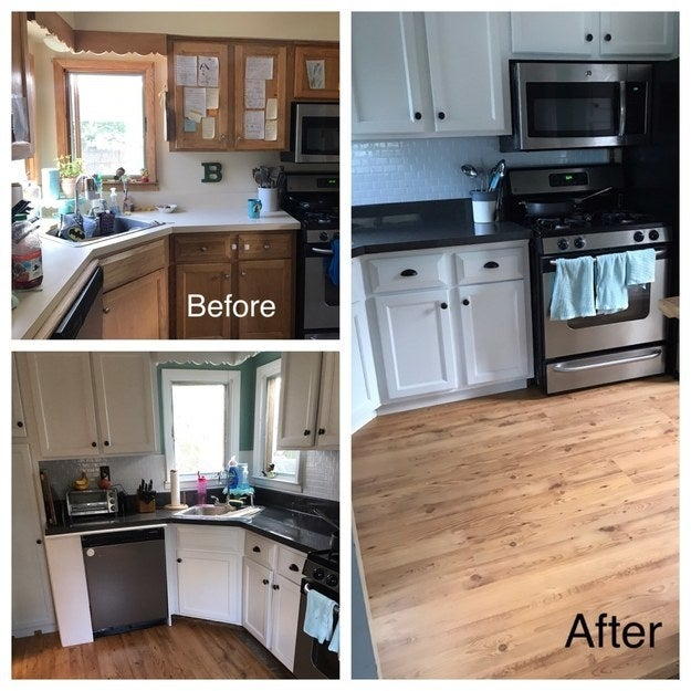 """It took three weeks, but I was able to transform my entire kitchen for under $400. I painted the cabinets, used a vinyl sticker on the countertops, made a backsplash out of stick tiles, and put in click-lock laminate flooring."" —jennb4007dcb4d"