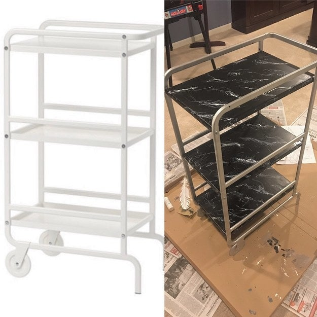 """I did a scene painting class back in college for my theatre major, so I took those skills and painted this super sophisticated marble bar cart! The cart itself was only $30 so with the paint and other materials, it probably only cost me about $55!"" —resas2"