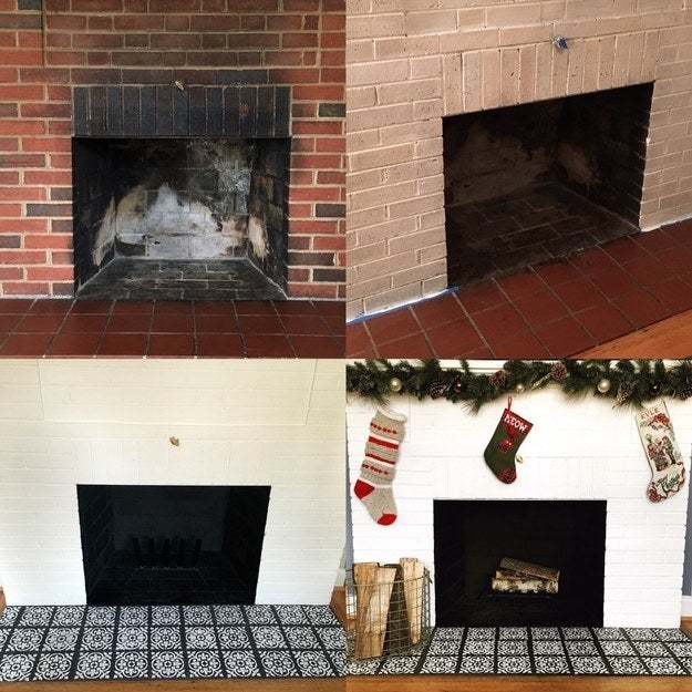 """After moving into our home last year, I gave the fireplace a much needed facelift by painting the bricks and stenciling the hearth."" —aprilt16"