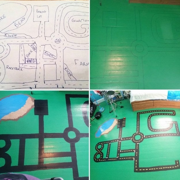 """My six-year-old wanted to redo his bedroom, so he got to pick the wall and floor colors. He explained that he wanted a racetrack painted on his floor and helped me draw out his 'vision'. It took a week and my knees ached by the time it was finished, but it came out great!"" —cheryls10"