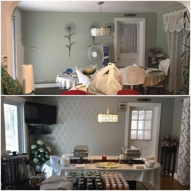 """I renovated my dining room with a metallic paint and curtains to spruce up the room. It's still cozy, but now it's just a bit more modern."" —itratz"