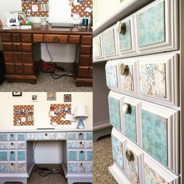 """I bought this desk for $40 and turned it into a modern beauty with some paint, scrapbook paper, and Mod Podge!"" —jkcristini"