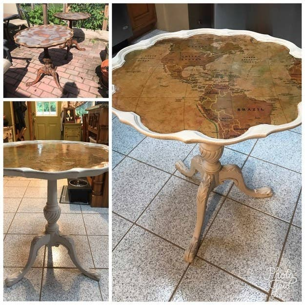"""This table was going to be thrown out so I painted it and added the map. This was a way more difficult project than I thought it would be and took a lot of trial and error, so I learned a lot. It was a labor of love and I am so happy with how it came out!"" —triciaa4ce8daefe"