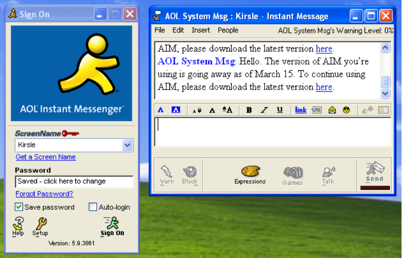 An AIM conversation opened up on Windows XP.
