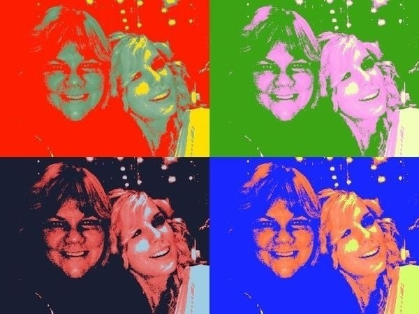 A photo of Taylor Swift and her mom using the Warhol-esque photo filter.