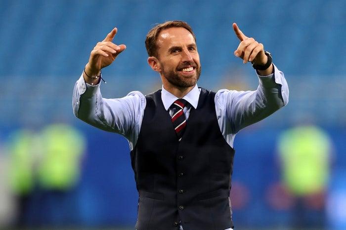 Manager Gareth Southgate celebrates England's quarterfinal victory over Sweden on July 7.