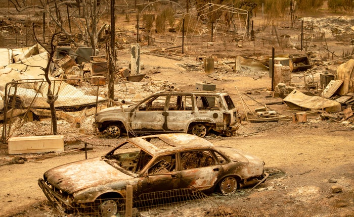 This photo shows burned-out cars after the Ranch fire hit Spring Valley near Clearlake Oaks on Aug. 7.