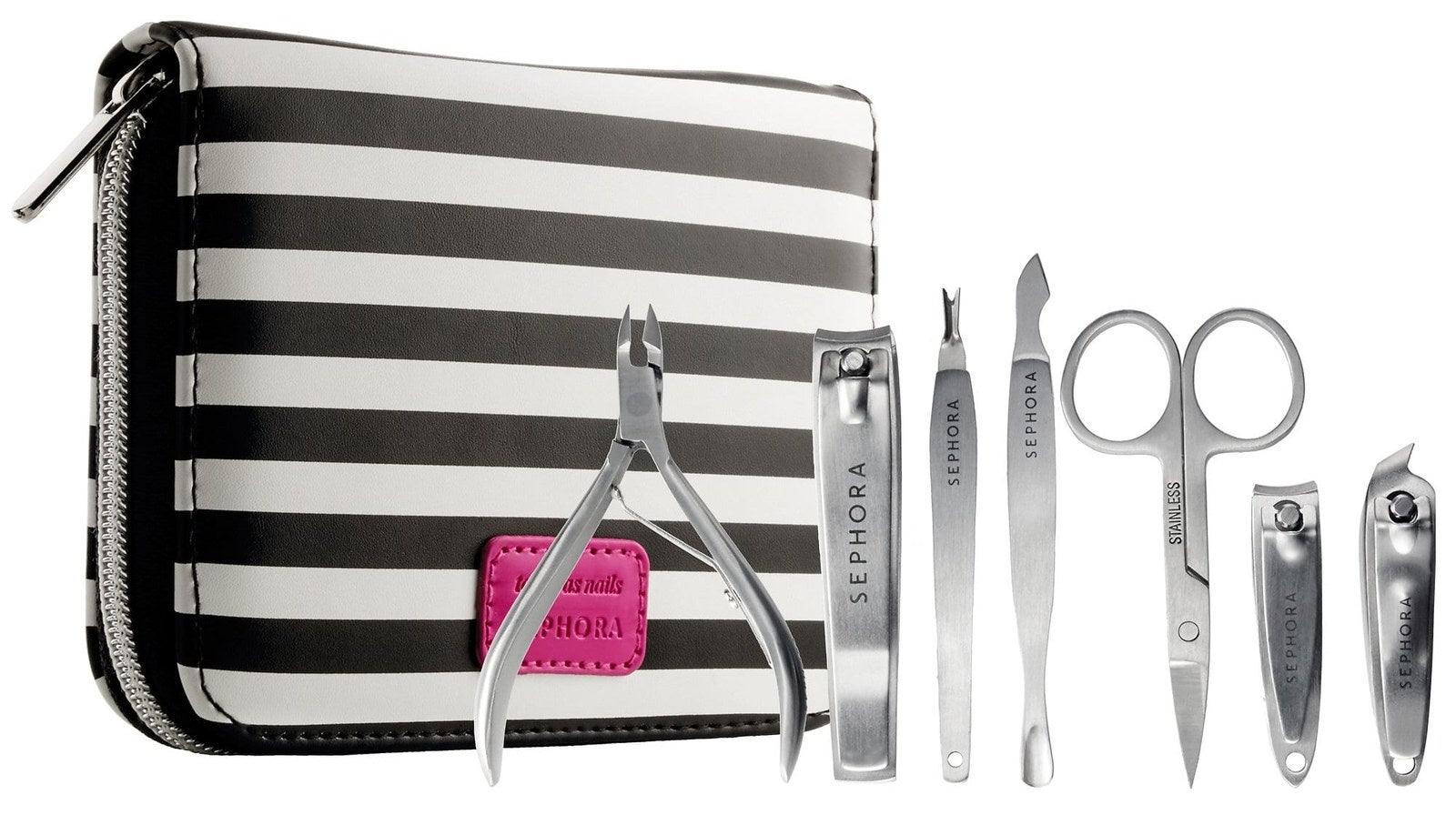 """Includes cuticle nipper, angled Nail clipper, scissors, nail clipper, double ended cuticle trimmer/pusher, cuticle trimmer, and toe nail clipper. Promising review: """"They are not joking with the deluxe part of the name, these clippers are really sharp and well-made. No handles slide or jiggle loose, the spring feels incredibly strong and professional grade, I could not be happier with this set. It's not a full manicure kit as there is no nail file (weird, right?) but it's very pro all the way."""" —annedroidGet it from Sephora for $20."""