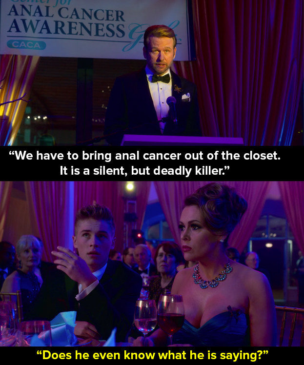 Directly before this line by Bob, Regina Sinclair (Arden Myrin) makes fart noises as Bob (Dallas Roberts) gives a speech about how his grandmother died from the disease. After that there's a string of double entendres by Bob himself (above).