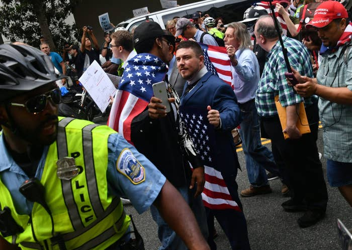 "Jason Kessler, organizer of the ""Unite the Right"" rally, in DC on Sunday."