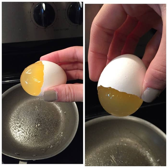 An egg that is missing half the shell, but has a clear yolk that hasn't broken yet