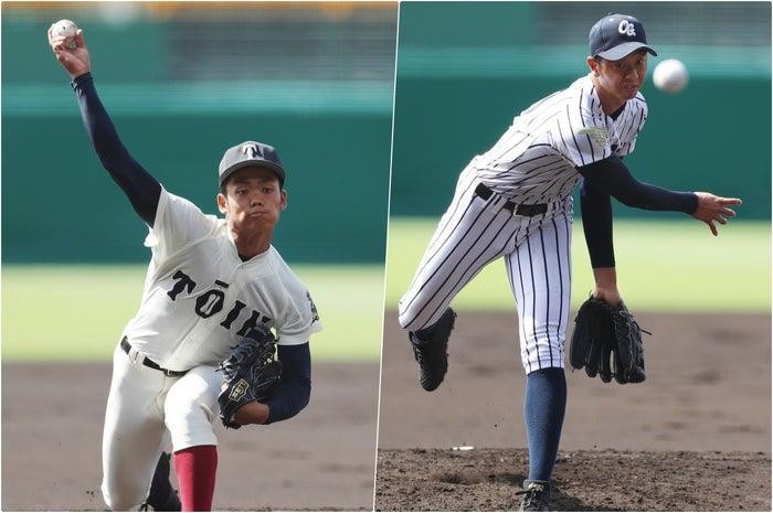 大阪桐蔭先発の根尾昂投手(写真左)と沖学園先発の石橋幹投手